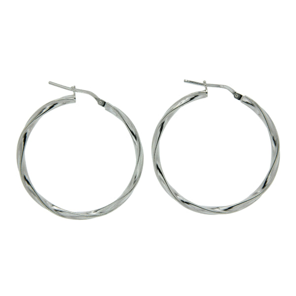 sterling silver ribbon twist hoops