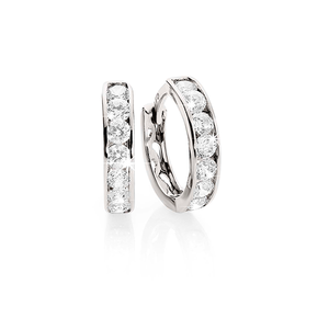 9ct White Gold Channel-Set Cubic Zirconia Huggie Earrings. 9mm Internal Diameter