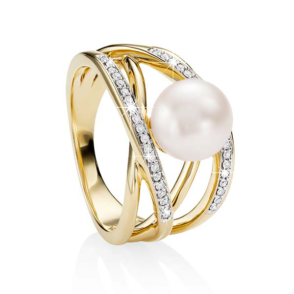9ct Yellow Gold 4 Bar CroSterling Silverover Pave 0.15ct Dia And Pearl DreSterling Silver Ring (Ij P1)