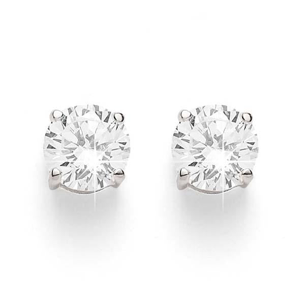 9ct white gold 0.50ct+ round brilliant cut diamond studs