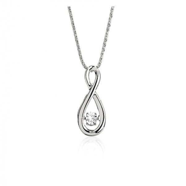 DANCING DIAMONDS 9ct white gold diamond pendant #