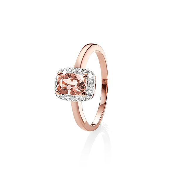 9ct Rose Gold 5X7mm Long Cushion Cut Morose Goldanite And Diamond Halo Ring