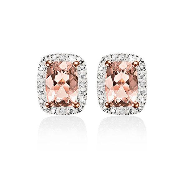 9ct Rose Gold Morose Goldanite Cushion Cut & Diamond Earrings