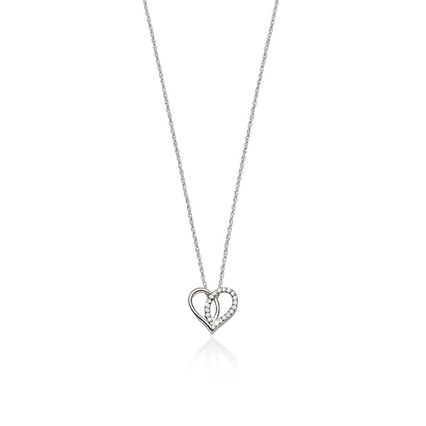 sterling silver cubic zirconia heart necklet