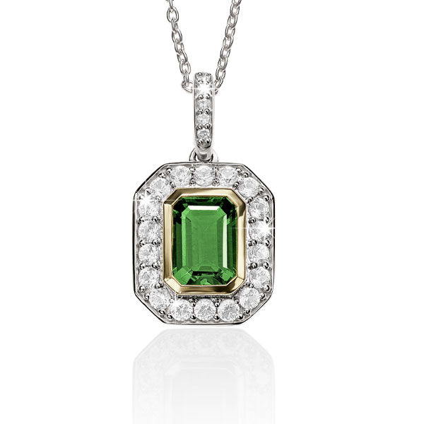S/S 9ct cr^ emerald & cr^ white sapphire  necklet