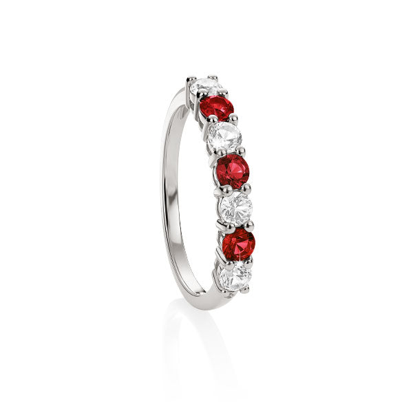 S/S cr^ ruby & cr^ white sapphire eternity ring