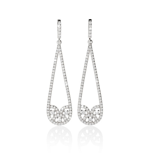 sterling silver cubic drop earrings