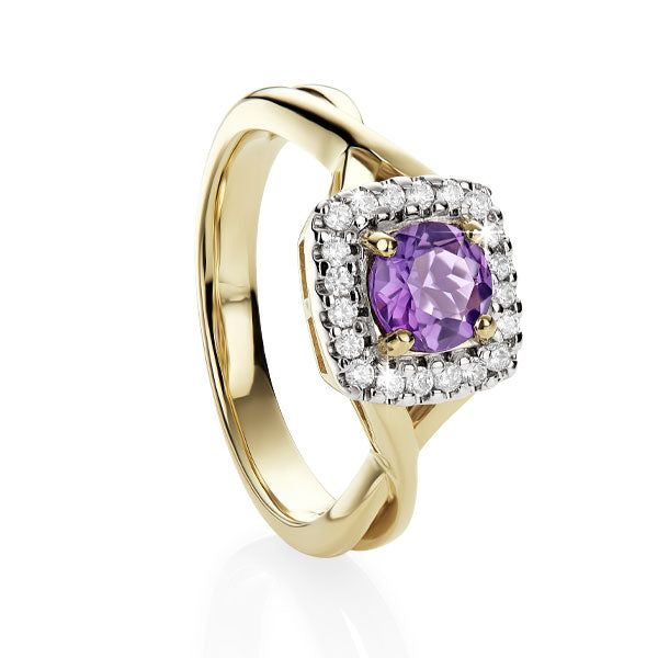 9ct yellow gold cushion amethyst & diamond ring