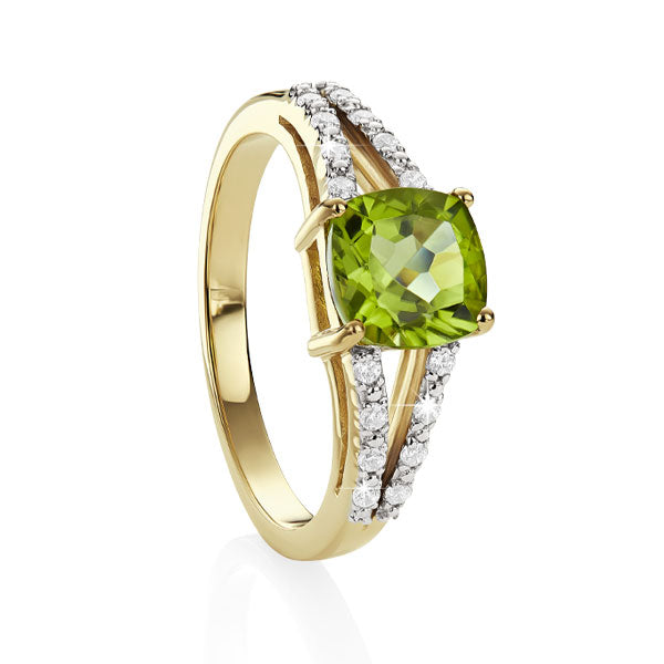 9ct YG cushion peridot & diamond ring