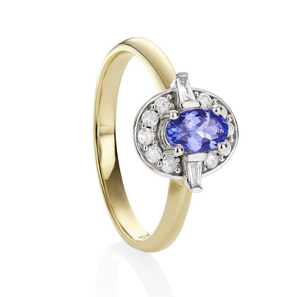 9ct yellow/white tanzanite & diamond ring