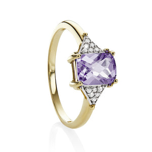 9ct gold checker amethyst & dia ring