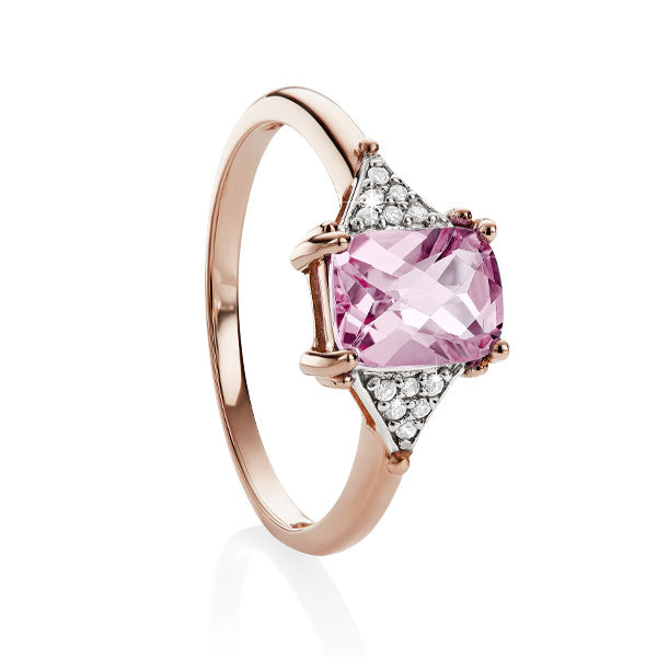 9ct rose gold created pink sapphire checker & dia ring