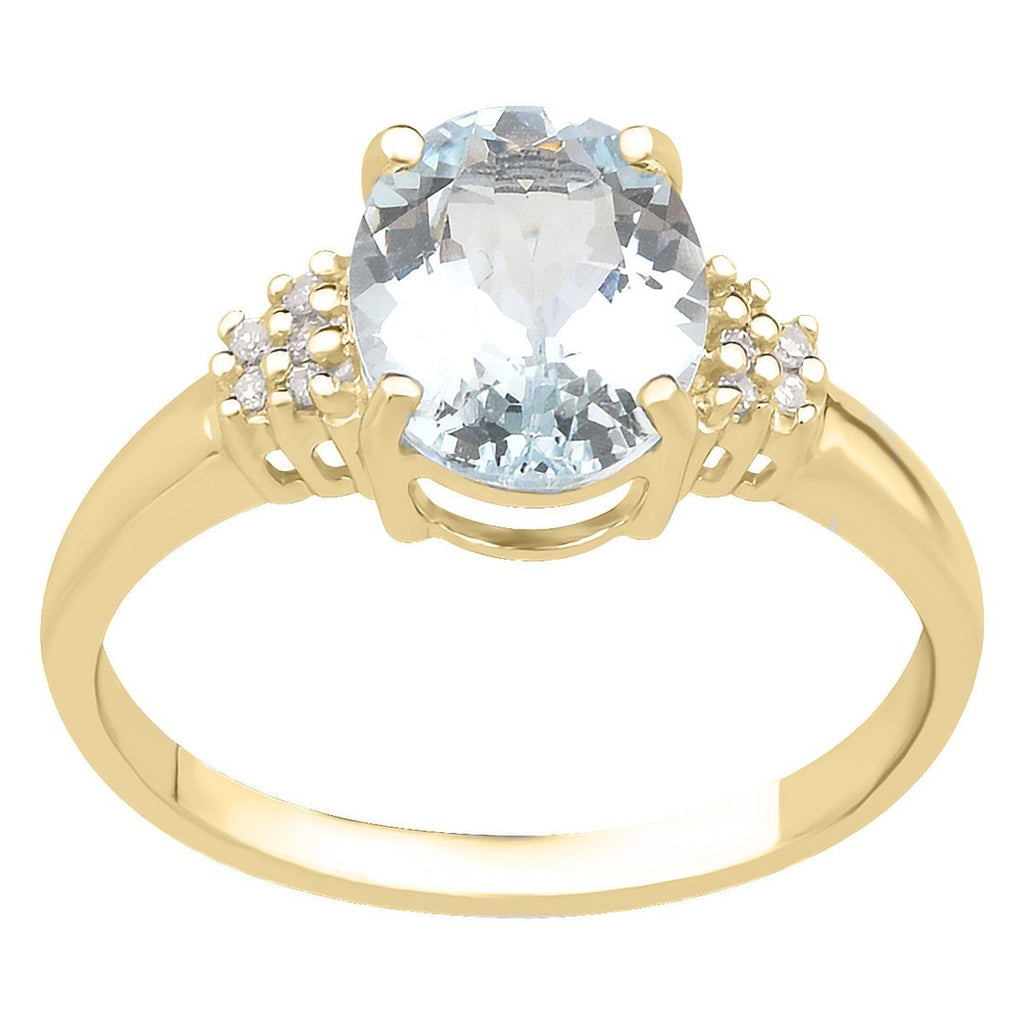 9ct Yellow Gold Aquamarine Oval & Diamond Ring