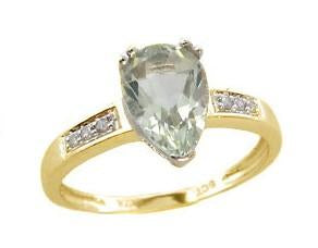 9ct Yellow Gold Green Amethyst (Pear 6X9mm) & Dia 0.03ct Ring