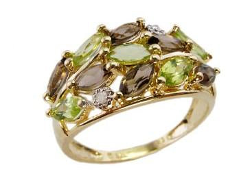 9ct Yellow Gold Multi-Color (Peridot & Smoky Quartz) & Dia 0.016ct Ring