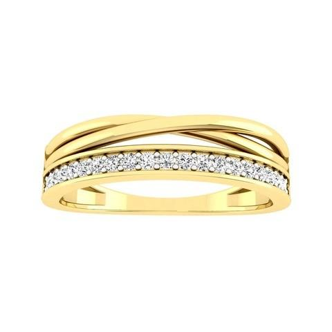 9ct Yellow Gold Diamond Tdw=0.15ct DreSterling Silver Ring