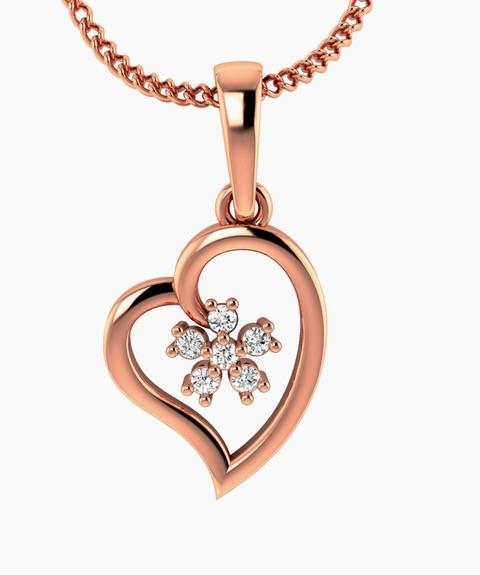 9ct Rose Gold Dia 0.05ct Heart Pendant