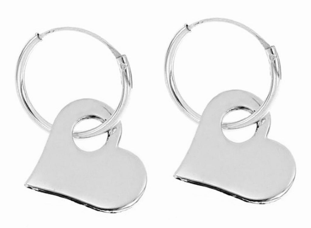Sterling Silver Hoop Earrings With Heart Charm