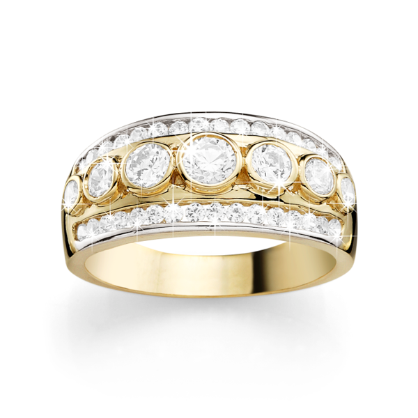 9ct Gold Three-Row Bezel & Channel-Set Cubic Zirconia Ring