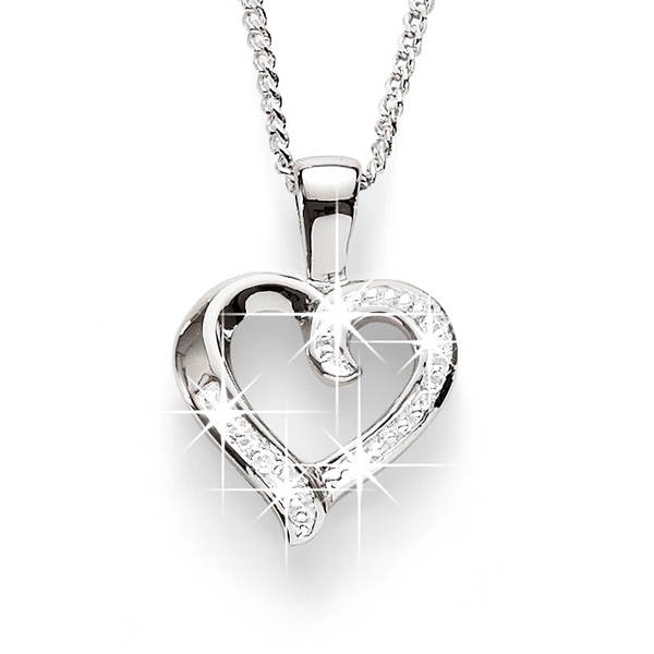Sterling Silver Diamond Set Heart Pendant