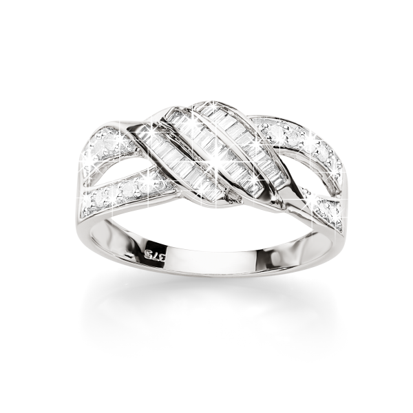 9ct White Gold 0.34ct Tdw 3-Row Baguette And Round Diamond Open Shoulder DreSterling Silver Ring