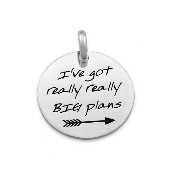 CANDID 'I've got really big plans' disc pendant