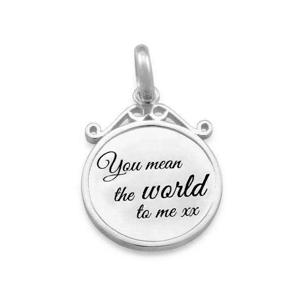 CANDID 'You mean the world to me' disc pendant
