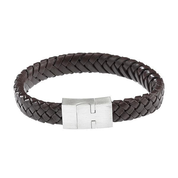 Cudworth Leather Bracelet With Stainless Steel Clasp