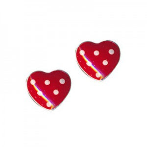Red and White Spot Enamel Heart Studs