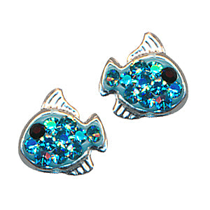 Aqua Crystal Fish Studs