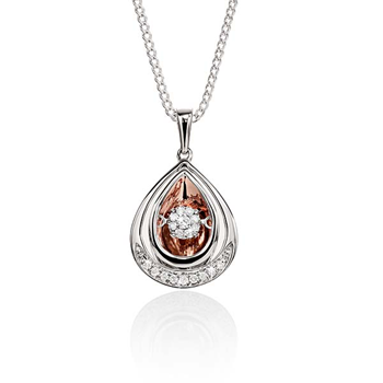 DANCING DIAMONDS MP4993 9ct YG 0.14ct (HI P2) pear shape pendant with mirror finish back