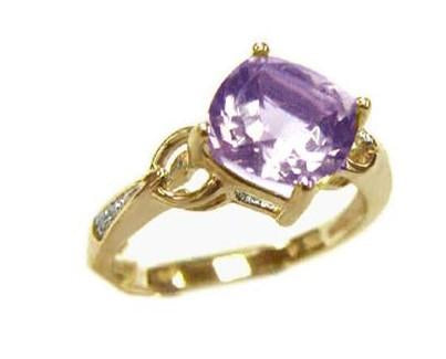 9ct Yellow Gold Amethyst (Purple Cushion 8X8) & Dia 0.02ct Ring