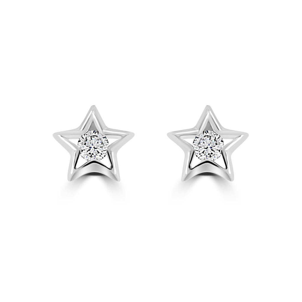 Sterling Silver And Cubic Zirconia (CZ) Star Earrings Stud