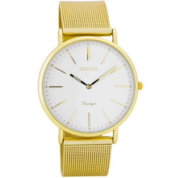 OOZOO Watch 36mm matt gold alu/gold on wht/matt gold alu mesh