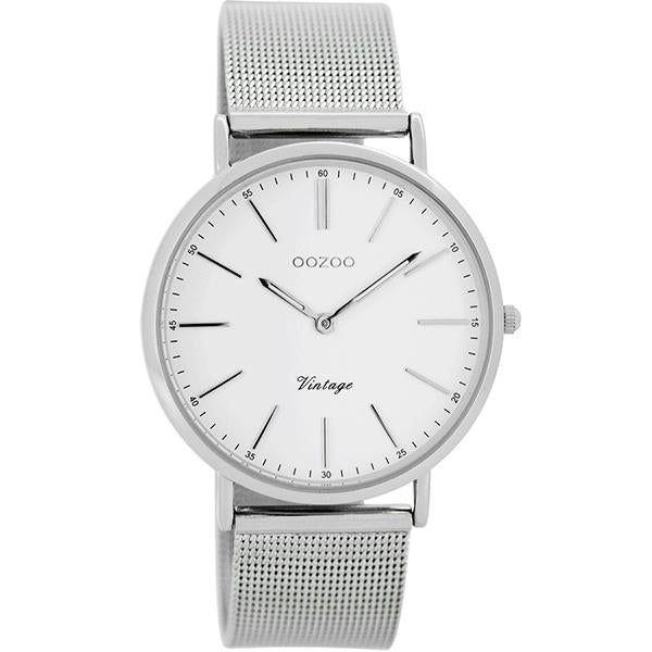OOZOO Watch 36mm silver case / silver on white / silver mesh