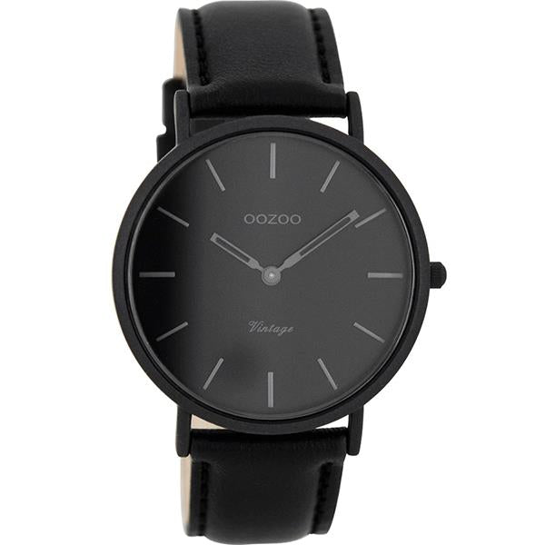 OOZOO Watch 40mm matt black alu case / dark-grey on black / black