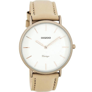OOZOO Watch 40mm matt sand alu case / rose gold on white / sand