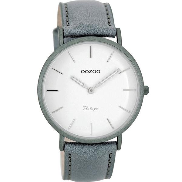 OOZOO Watch 40mm matt steel-grey alu/ silver on white / steel-grey