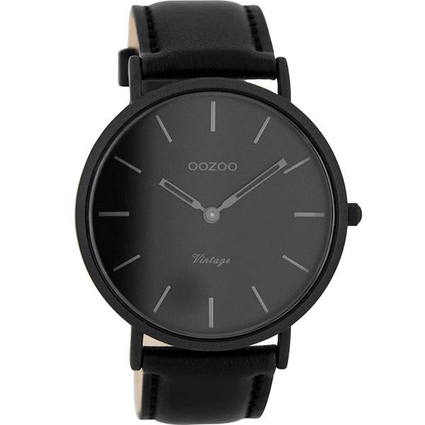 OOZOO Watch 44mm matt black alu case / dark-grey on black / black