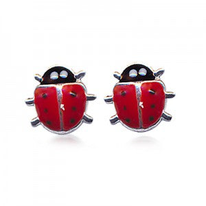 Red Enamel Lady Bird Studs