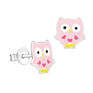 Pink Enamel Owl with Hearts Studs