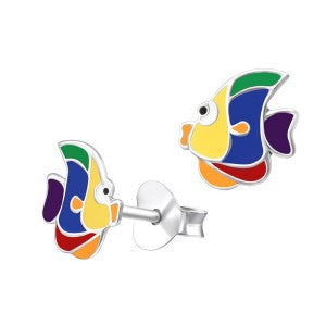 Rainbow Enamel Fish Studs