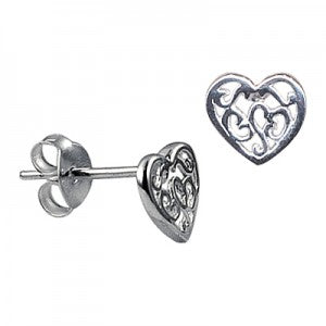 Filigree Heart Studs