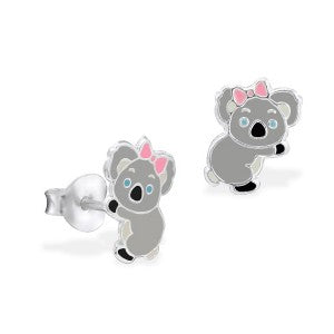Grey Enamel Koala with Pink Bow Studs