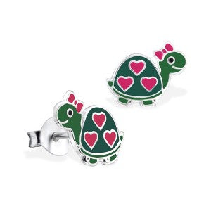 Green Enamel Turtle with Hearts Studs