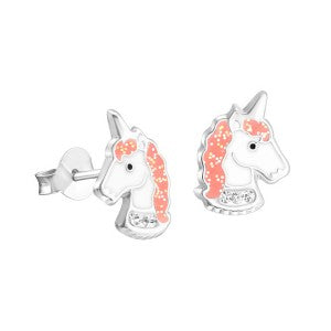 Enamel Unicorn Studs with Crystals and Glitter