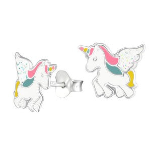Enamel Unicorn Studs with Glitter Wings