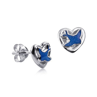 Heart Studs with Enamel Blue Bird