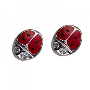 Rhodium Red Enamel / Cz Lady Bird