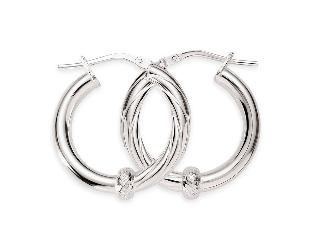 Silver 12mm 1/2 polished 1/2 twist hoops